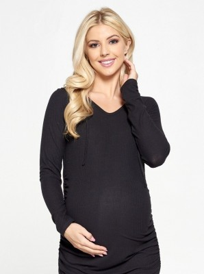 Casual Long Sleeve Maternity Top - Black