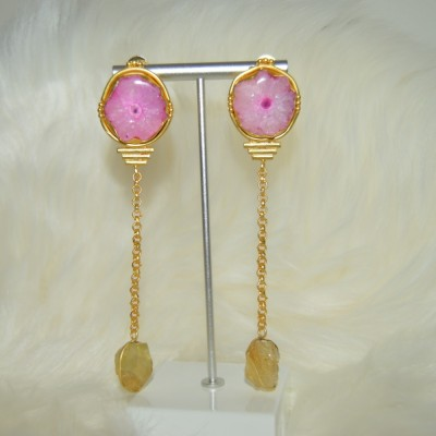 Pink Druze stone Earrings
