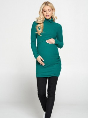 Side Ruched Breastfeeding Turtleneck Top - Green